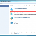 Tela inicial do VMware Player