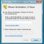 Cadastrando email wmware player